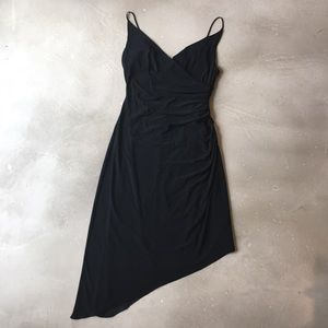 Lovely Asymmetrical Ruched Black Dress